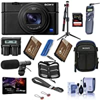 Sony Cyber-Shot DSC-RX100 VII Digital Camera - Bundle with 128GB SDXC U3 Card, Table top Tripod, Camera Case, Spare Battery, Shotgun Microphone, Remote Shutter Release, Software Package, and More