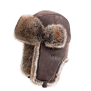 LETHMIK Winter Faux Fur Hunting Hat Unisex Trapper Russian Aviator Trooper Hat