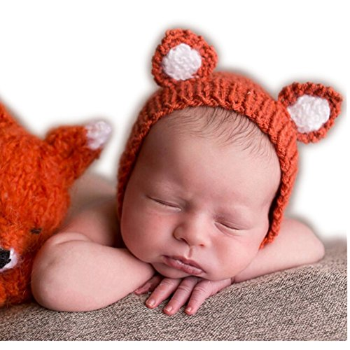 Luxury Cute Newborn Boy Girl Baby Costume Outfits Photography Props Little Fox Hat (Orange)