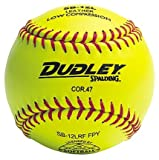 12'' Spalding B12L Cork Center .47 COR Red Stitch NFHS Yellow Fast Pitch Softballs from Dudley - (One Dozen)