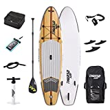 Thurso SURF Waterwalker All Around Inflatable Stand up Paddle Board SUP 10'6/11' Long 6'' Thick Two Layer Deluxe Package Includes Carbon Shaft Paddle/2+1 Quick Lock Fins/Deck Bag/Leash/Pump/Backpack