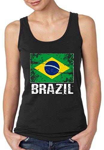 Pekatees Brazil Tank Top for Women Brazil Sleeveless Shirt Brazilian Soccer 2018 Black (Brazil Sleeveless)