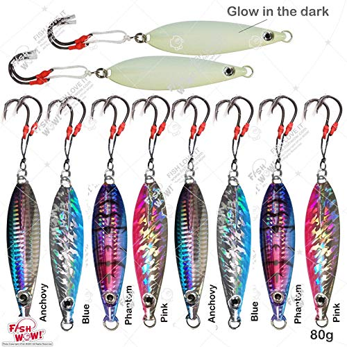 Fish WOW! 10pcs 80g Fishing Flat Fall jig 2.8oz Vertical Jig Trolling with Two Assist Hooks 5-Color Set (Butterfly Flat Fall Jig)