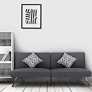 LANGRIA Modern Convertible Couch Futon Sofa Bed Upholstered 5 Reclining Positions, Recliner Couch Sleeper, Gray