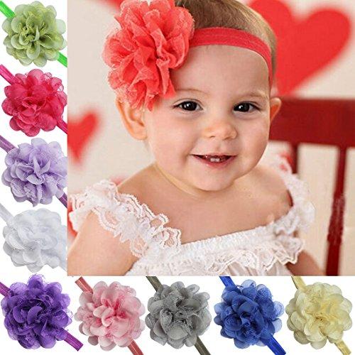 iEFiEL 10 Stück Baby Kinder Haarband Mädchen Stirnband Kopfband Blumen Blüte Haarschmuck Headband Hairband