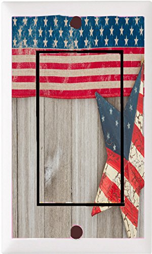 USA patriotic old flag and a star on a weathered wood background LIGHT SWITCH COVER PLATE OR OUTLET (1x Rocker)