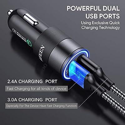 JOOMFEEN Cargador de Coche,Quick Charge 3.0+2.4A 30W Carga Rapida Doble Puertos USB Adaptador Cargador de Coche con Cable Micro USB para Samsung ...