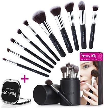 beauty Lally MB-001 Beauty Lally - Juego de 10 brochas de maquillaje, sedosas, suaves y de maquillaje, incluye estuche y espejo compacto (30 días), Negro, 1 uds. por paquete, 1[set de ]: Amazon.es: Belleza