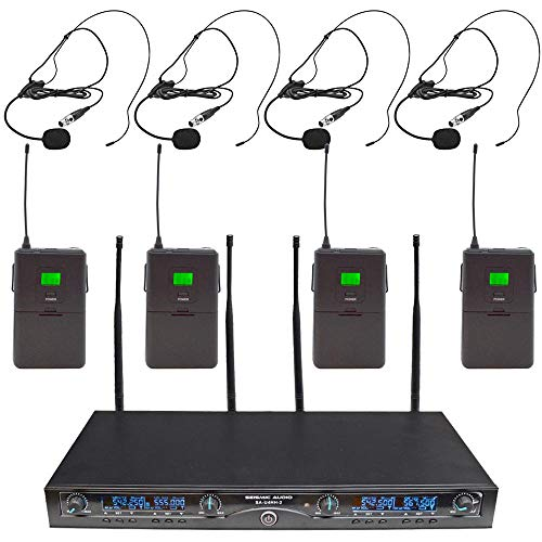 Seismic Audio - SA-U4LV6-2 - 4 Channel Professional UHF Wireless Microphone System with 4 Headset Microphones, Adjustable Frequencies PA DJ Wireless Mics