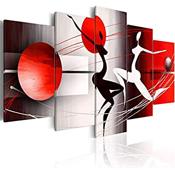 Canvas Art Motion and Emotions Print Painting Modern Wall Decor Red and Black Picture 5 Panels Room Decoration Framed and Stretched (Small W40