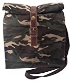 over the shoulder cooler bag - Waxed Canvas Lunch Bag Camouflage Green Large Eco-Friendly, For Men and Women, Reusable Durable Classic Paper Tote, Lunchbox, Lunchbag