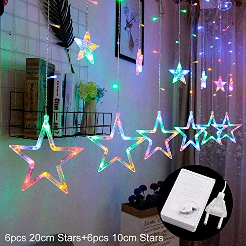 JEWH LED String Warm White Christmas Ornaments - Fairy Christmas Lights Outdoor Star - Garland LED Curtain Party Decoration (multicolor /110 V)