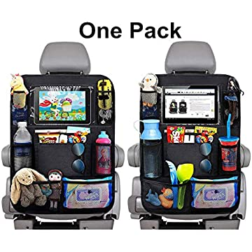 Car Backseat Organizer with Touch Screen Tablet Holder + 9 Storage Pockets Kick Mats Car Seat Back Protectors Great Travel Accessories for Kids and Toddlers (Oxford Cloth-1 Pack)