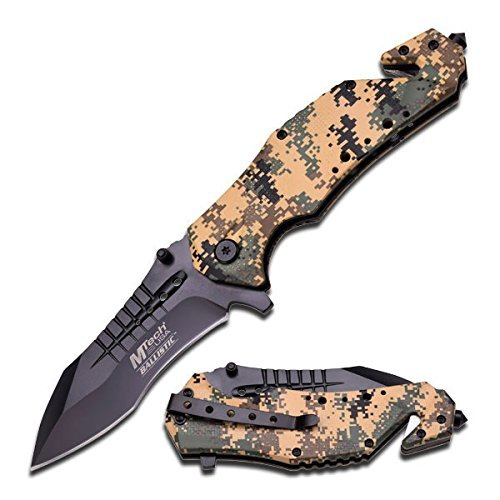 MTECH USA Ballistic MT-A845 Series Spring Assist Folding Knife, Black Blade, 5-Inch Closed (Desert Camo)