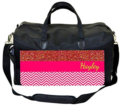Colorblocked Glitter PRINT and Chevrons Customizable Diaper Bag
