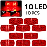 10x 4 quot; Red Double Bubble Bullseye Trailer Side Marker Clearance Light Tail Brake Stop 10LED Bul