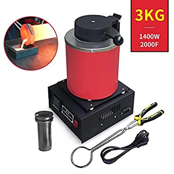 Image of Casting Machines TOAUTO 3KG Gold Melting Furnace,1400W 2000F Digital Automatic Melting Furnace with Graphite Crucible for Melt Scrap, Silver, Gold, Copper, Aluminum 110V Refining Casting Furnace,US Stock