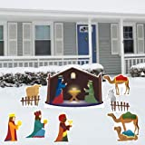 Nativity Scene - Christmas Yard Decoration Set – 8 Pcs Total with 17 Short Stakes