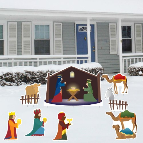 Nativity Scene - Christmas Yard Decoration Set – 8 Pcs Total with 17 Short Stakes (Outdoor Nativity Set)