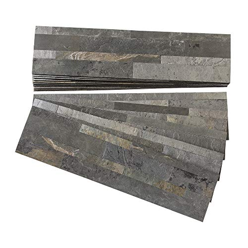 Aspect Peel and Stick Stone Overlay Kitchen Backsplash - Iron Slate (Approx. 15 sq ft Kit) - Easy DIY Tile Backsplash