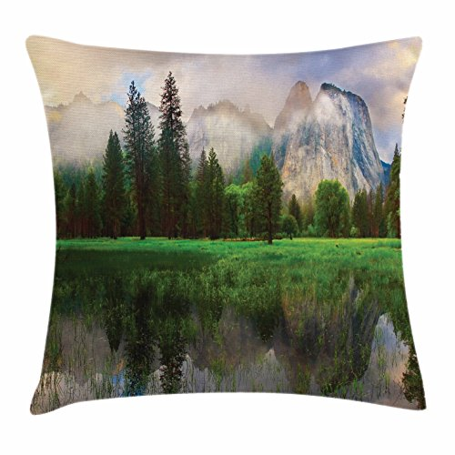 Ambesonne Yosemite Throw Pillow Cushion Cover, Sunset Panorama of Yosemite Cathedral Rocks Trees Cloudy Sky Reflection Riverside, Decorative Square Accent Pillow Case, 40 X 40 inches, Beige Green - Riverside Deck Chair Set