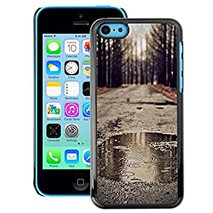 A-type Arte & diseño plástico duro Fundas Cover Cubre Hard Case Cover para iPhone 5C (Autumn Rain Romantic Nature Fall Road)