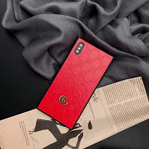 Phone Case for iPhone Xs Max, Luxury Designer Classic Monogram Leather Back Soft TPU Bumper Protective Trunk Case for iPhone Xs Max