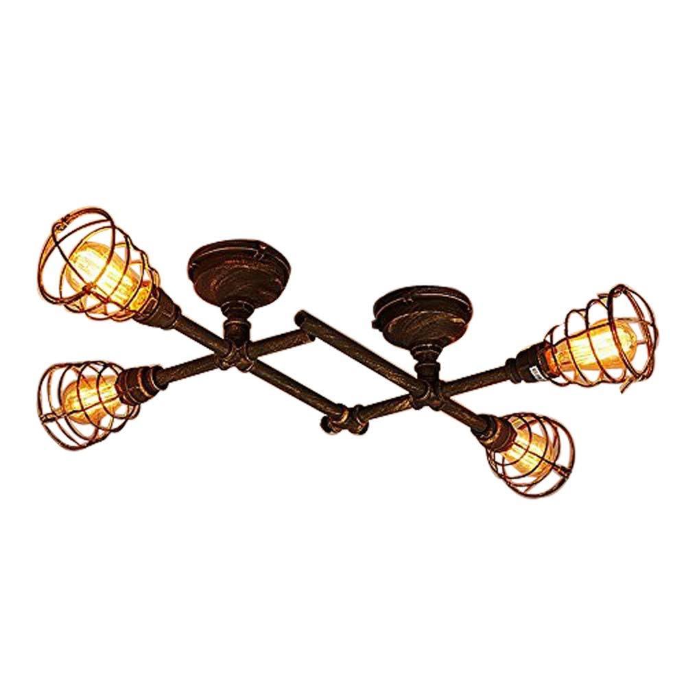 JINGUO Lighting 4 Lights Industrial Cage Pipe