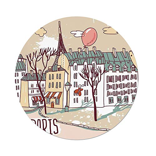 iPrint Polyester Round Tablecloth,Paris,Illustration of Paris with Old City Buildings and Eiffel Urban Street Balloon,Cream Pink Green,Dining Room Kitchen Picnic Table Cloth Cover,for Outdoor Indoor