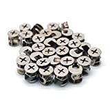 30 Pcs Cam Fittings Lock Furniture Cabinet Connectors Hardware Bolts 15mm Silver