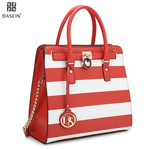 Dasein Top Belted Padlock Stripe Tote Briefcase Satchel Shoulder Bag Handbag Designer Purse Laptop (Belted Laptop Tote)