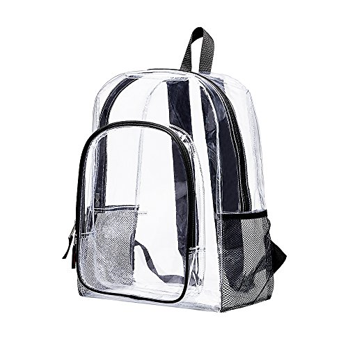 Clear Transparent Backpack, Heavy Duty Multi-pockets School Bag, Clear PVC See Through Student Outdoor Backpacks for School, Security, Sports by Covax