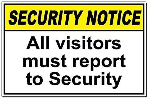 Dozili Security: All Visitors Must Report to Security Sign Aluminum Metal Sign Plate ()