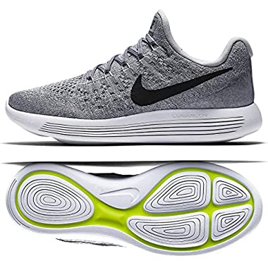 best service 6fed8 2a5a5 Nike Womens Lunarepic Low Flyknit 2 Wolf Grey Black Cool Grey Running Shoe  7.5