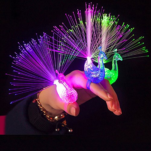 Price comparison product image Efanr 12Pcs Creative Peacock Style LED Finger Ring Lights Beams Light up Glowing Kids Toys Gifts Concert Props Wedding Celebration Festival Party Decor
