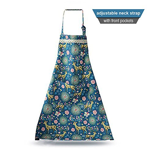 Cute Adjustable Women's Kitchen Lace Apron 100% Pure Cotton Cooking Baking Garden Chef Apron with Pockets Cartoon Pattern Apron (Blue) - School Apron