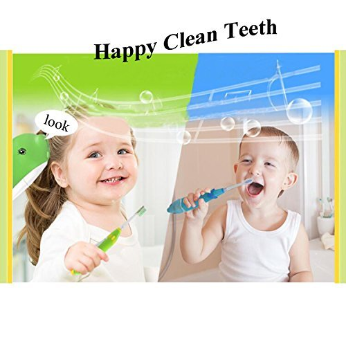 2pcs Musical Kids Sonic Electric Toothbrush Battery Powered Baby Electric Toothbrush Smart Child Electric Toothbrush LED Light Toddler Toothbrush 621 Vibrate Toothbrush for 2-10 Kid (Blue + Pink)