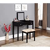 vanity bedroom. Linon Home Decor Vanity Set with Butterfly Bench  Black Amazon com Makeup Vanities Benches Bedroom Furniture