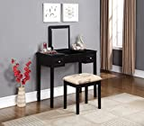 Makeup Vanity Chairs Linon Home Decor Vanity Set with Butterfly Bench, Black