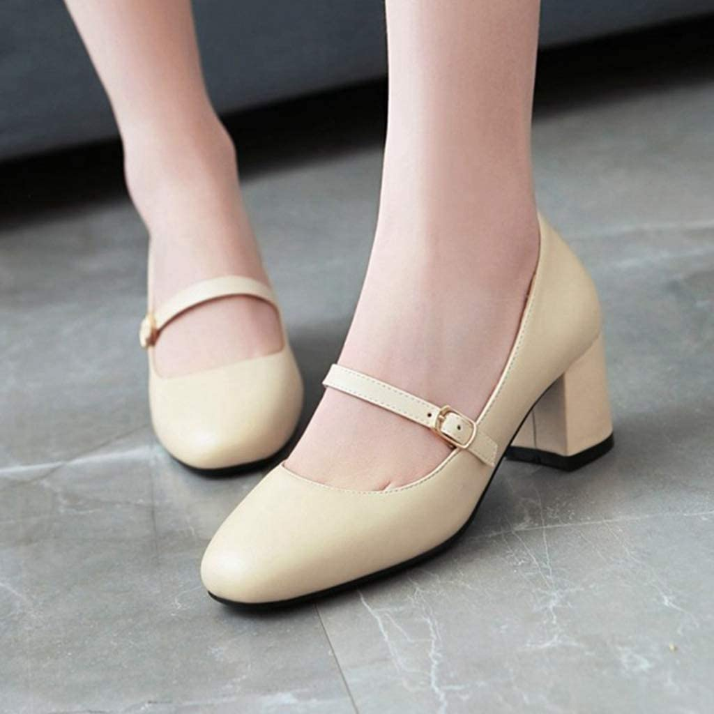 Details about  /Women T Strap Mary Janes Pointy Toe Block Heel Suede Fabric Princess Shoes 34-46