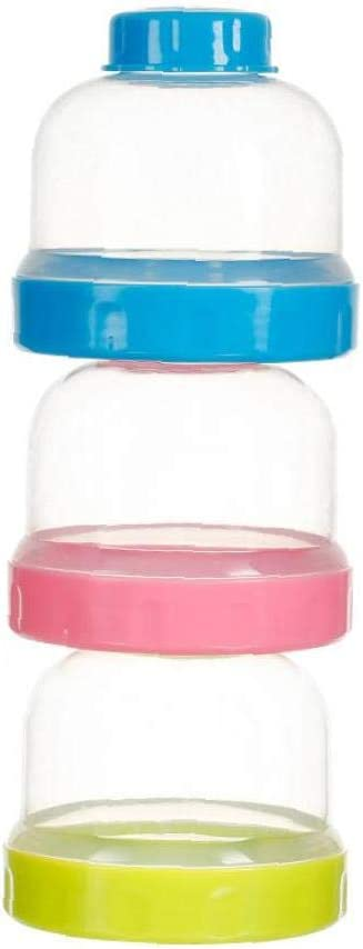 Baby Milk Powder Formual Dispenser Three- Layer Non-Spill Stackable Baby Feeding Travel Storage Container Organizer Food Case Blue