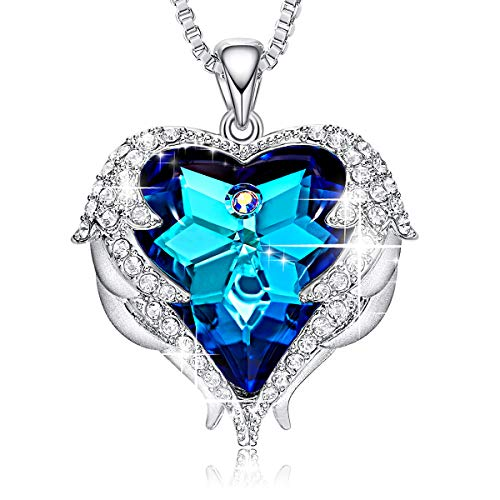 CDE Blue Heart of Ocean Necklaces Angel Wings Swarovski Crystal Jewelry Silver Pendant Necklaces -