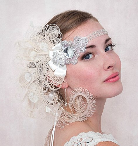 Ivory Peacock Feather Flapper Headband Great Gatsby Style Wedding, Bridal by Deanna DiBene Millinery