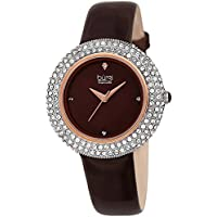 Burgi Women's BUR199BR Swarovski Crystal & Diamond Accented Rose Gold & Burgundy Leather Strap Watch