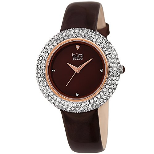 - Burgi Women's Swarovski Crystal Watch - Diamond Accented Rose Gold & Burgundy Leather Strap Watch - Great for Mother's Day - BUR199BR