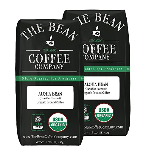 The Bean Coffee Company Aloha Bean (Hawaiian Hazelnut), Organic Ground Bean, 16-Ounce Bags (Pack of 2)