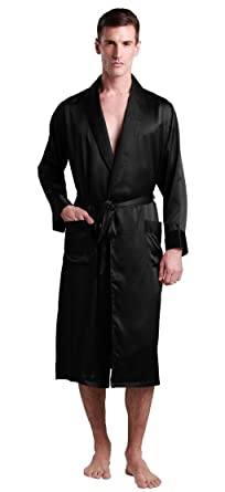 ba687f7c28561 LilySilk Silk Robe Men Lightweight Black Collar 22 Momme 100% Pure Mulberry  Lounge Wear Luxury