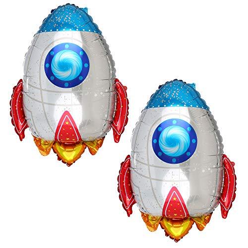 2 Pcs Rocket Shaped Big Mylar Foil Balloon Universe Space Theme Birthday Party Decorations]()