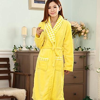MH-RITA Otoño e Invierno Mujer batas de toalla Albornoz engrosamiento Camisón Coral Fleece pijama