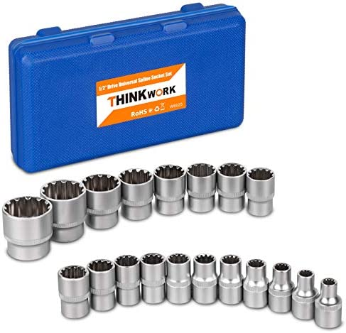 "1/2"" Drive Universal Spline Socket Set, THINKWORK 19 Pieces Bolt Extractor Tool Set, Nut Removal Tool, Works with SAE, Metric, Partially Rounded, 6 pt, 12 pt, Square and E-TORX, Cr-V metal"
